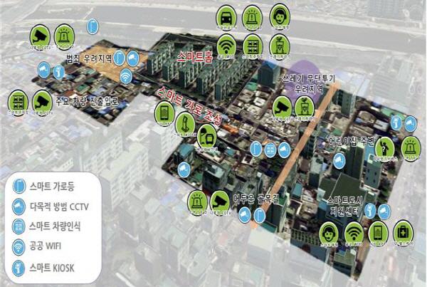 도시경쟁력 회복형 스마트도시 기술 적용 뉴딜사업 가상도 예시 [자료제공 국토교통부]