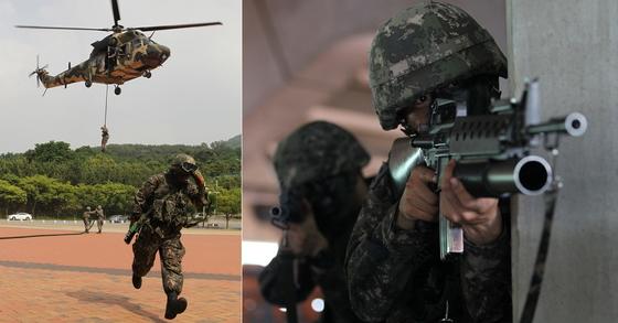 '2016 대구ㆍ경북 화랑훈련' 당시 대구스타디움에 침투한 적을 탐색해 격멸하는 작전을 훈련하는 육군.[프리랜서 공정식]