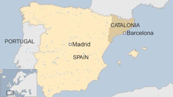 카탈루냐 지도. 짙은 색으로 표시된 부분이 카탈루냐, 옅게 칠해진 부분이 스페인이다.