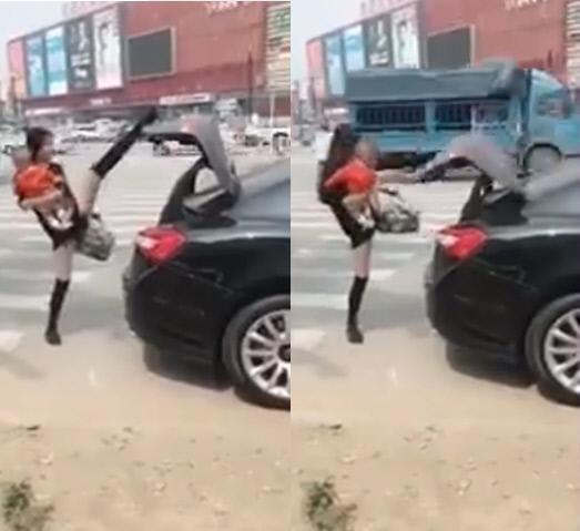 중국에서 '다리로 트렁크 문 닫기'가 유행이다. 사진은 이를 최초로 시도해 사회관계망서비스에 올린 이의 영상. /유튜브 'EEC MEDIA'