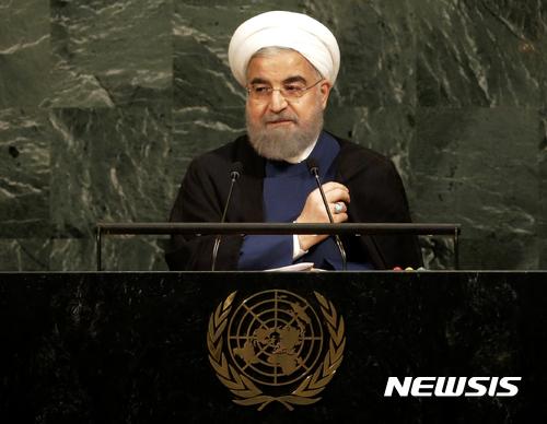【유엔=AP/뉴시스】하산 로하니 이란 대통령이 20일(현지시간) 유엔 총회에서 연설하고 있다. 2017.09.21