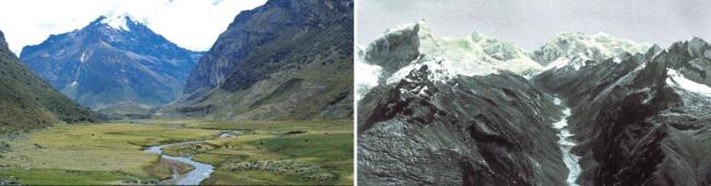"""곤잘로 데하다 UN FAO 페루 본부 지역 기술 조정관은 """"페루에서 나타나고 있는 기후변화 중 가장 큰 문제는 해마다 빙하가 녹고 있는 점""""이라고 말했다(왼쪽). 팔카코차 석호의 오른쪽을 지탱하고 있는 눈 덮인 팔카라주 산의 1850년대 모습."""