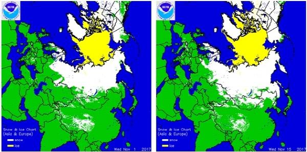 유라시아 북부의 동토층을 관측한 미 국립해양대기청(NOAA)의 자료. 얼음에 덮인 지역(노란색)과 눈 덮인 지역(흰색)의 면적이 지난 1일(왼쪽)에 비해 15일엔 많이 늘어나 있다. 흰 부분이 한반도 북쪽으로까지 내려온 것이 눈에 띈다.