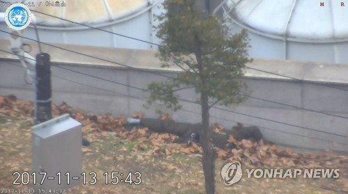 총격에 쓰러진 귀순 병사 (서울=연합뉴스) 지난 13일 판문점 공동경비구역(JSA)으로 귀순하다 추격하던 북한군의 총격을 맞은 귀순 병사가 쓰러져 있다.      유엔군 사령부는 22일 최근 판문점공동경비구역(JSA)을 통해 귀순한 북한 병사의 당시 총격 상황을 담은 CCTV를 공개했다.  [유엔군사령부 제공=연합뉴스]      photo@yna.co.kr