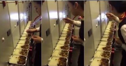 승객 기내식 몰래 먹다 '찰칵'[중국재경시보망 캡처]