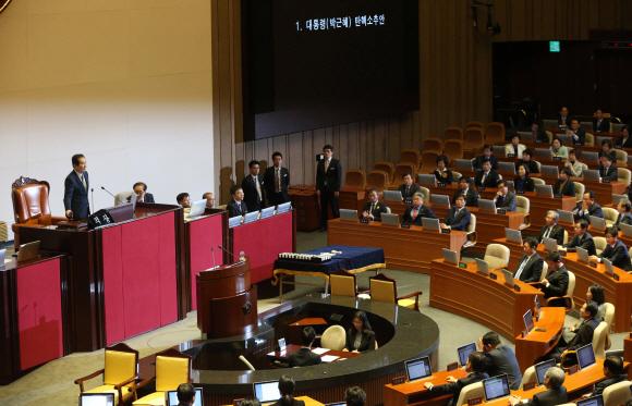 정세균 국회의장이 지난해 12월 9일 오후 국회 본회의에서 박근혜 대통령 탄핵소추안을 가결을 선포하고 있는 모습. 이종원 선임기자 jongwon@seoul.co.kr