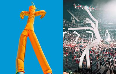 게티이미지뱅크(왼쪽). 1996 년 애틀랜타 올림픽에서 공개된 최초의 스카이댄서 `톨보이`.
