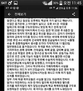 18일 오후 인터넷 블로그에 올라와 유포된 모 초등학교 관련 글. '아이가 학교 폭력을 당한 끝에 투신해 중상을 입었고, 학교 측이 이를 은폐하려 했다'는 내용이다. /인터넷 캡처
