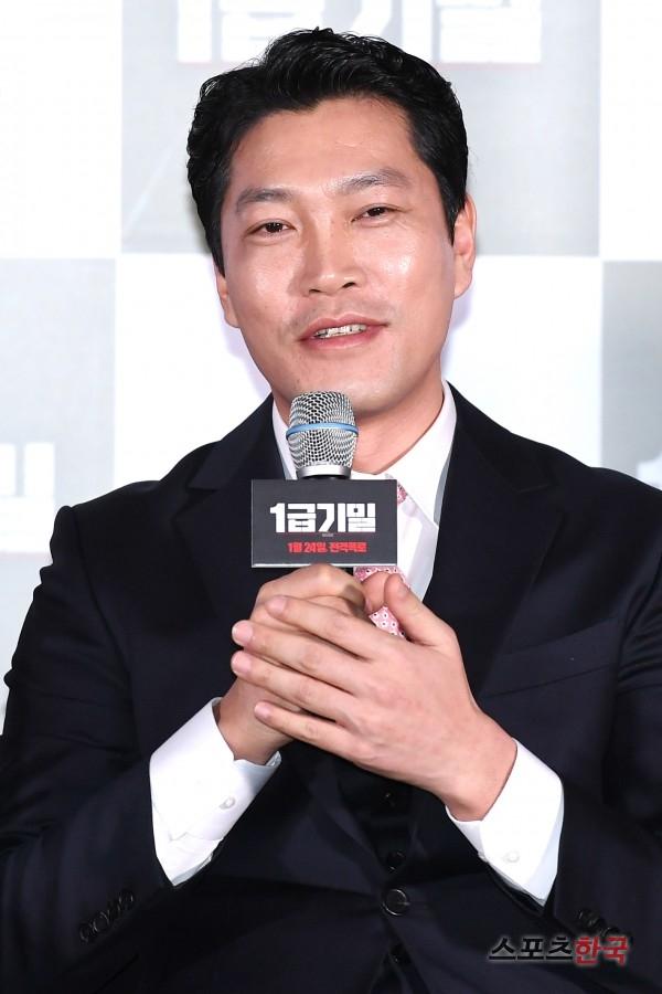 영화 '1급기밀' 언론시사회에 참석한 최귀화.사진=이혜영 기자 lhy@hankooki.com