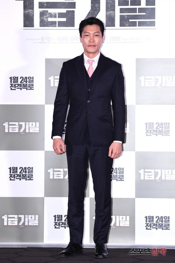 영화 '1급기밀' 언론시사회에 참석한 최귀화. 사진=이혜영 기자 lhy@hankooki.com