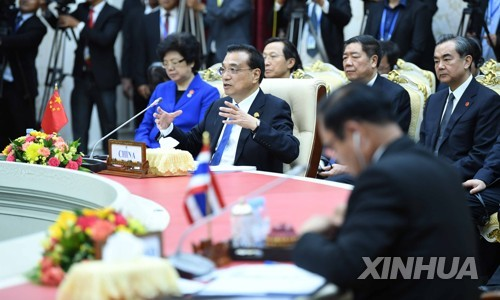 프놈펜 메콩강회의에 참석한 리커창 총리