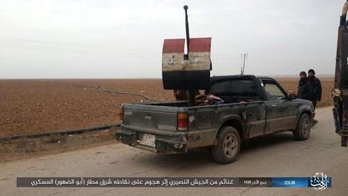 """IS """"이들리브서 시리아군 기습 공격, 장비 탈취"""" 주장 [IS 선전물 캡처]"""