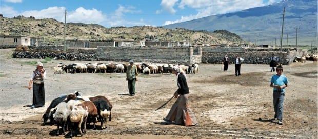 아라라트 산 기슭에 터전을 잡고 살고 있는 쿠르드 족 마을 사람들