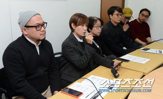 [포토] 독립영화 지원배제 규탄, 한자리에 모인 영화인들