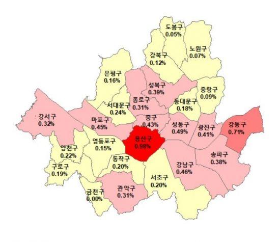 ▲2월12일 기준 서울 아파트 매매가격 주간 변동률(자료: 한국감정원)