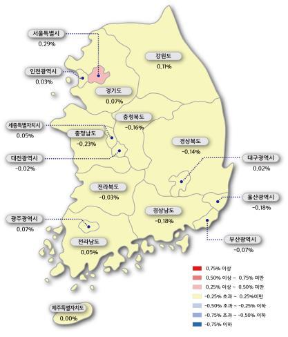 시도별 주간 아파트 매매가격지수 변동률 [한국감정원 제공=연합뉴스]