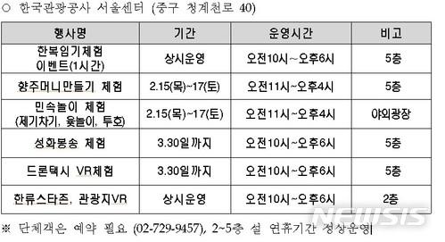 【서울=뉴시스】한국관관공사 설 명절 맞이 이벤트