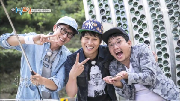 차태현, 김준호, 데프콘 등과 출연했던 시즌3 '1박 2일'에서의 행복한 한 때. 그는 팀의 가장 연장자였다.