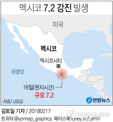[그래픽] 멕시코 강진 발생