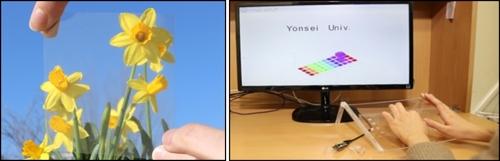 고감도·광투과성 겸비한 플렉서블 압력센서(왼쪽)와 해당 기술을 적용한 3D 키보드. 사용자 터치 강도에 따라 자동으로 대문자와 소문자를 구별해 출력할 수 있다. [한국연구재단 제공=연합뉴스]