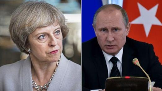 테레사 메이(왼쪽) 영국 총리와 블라디미르 푸틴(오른쪽) 러시아 대통령 /BBC
