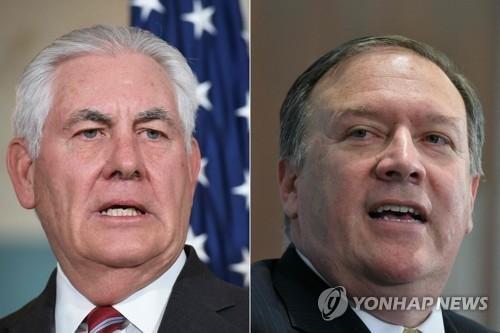 도널드 트럼프 미국 대통령이 13일(현지시간) 트위터를 통해 렉스 틸러슨 미국 국무장관(왼쪽)을 경질하고 후임에 마이크 폼페이오 미국 중앙정보국(CIA) 국장을 내정했다.AFP통신