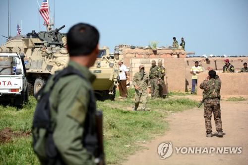 시리아 북부의 미군과 쿠르드 민병대 [EPA=연합뉴스 자료사진]