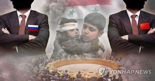 러시아·중국, 유엔안보리 시리아 인권 침해 논의 차단 (PG) [제작 최자윤] 일러스트, 사진합성