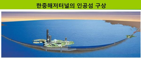 한중 해저터널 구상에서 등장한 서해 인공섬 조감도.  /김상환 호서대 교수 제공