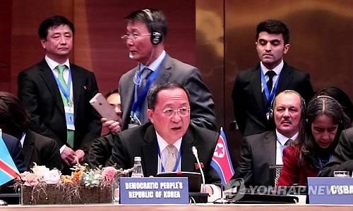 아제르바이잔 바쿠 비동맹운동 각료회의서 연설하는 북한 리용호 외무상 2018.4.5 [바쿠<아제르바이잔 />=연합뉴스]
