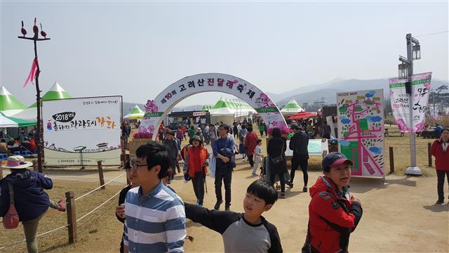 진달래축제 부대행사가 열리는 고인돌광장을 찾은 사람들.