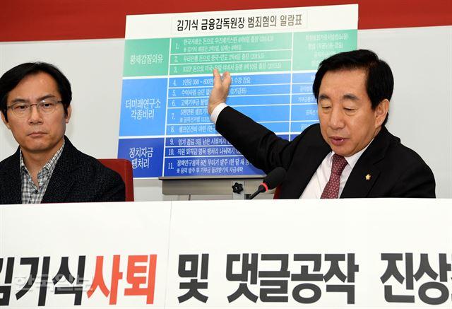 김성태(오른쪽) 자유한국당 원내대표가 15일 서울 여의도 국회에서 김기식 사태 규탄 및 민주당 댓글 진상조사촉구 긴급 기자회견을 하고 있다. 왼쪽은 민주당 댓글조작 진상조사단 단장으로 임명된 김영우 의원. 배우한 기자