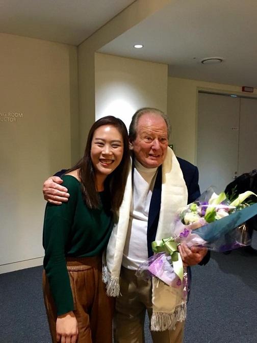 피아니스트 손열음(왼쪽)과 2016년 작고한 지휘자 네빌 마리너. /사진제공=크레디아