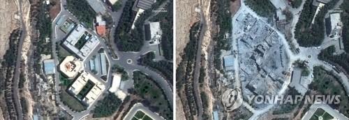 미국·영국·프랑스의 공습으로 파괴된 다마스쿠스 외곽 시리아과학연구센터의 공습 전(왼쪽)과 후 비교 이미지.  [EPA=연합뉴스]
