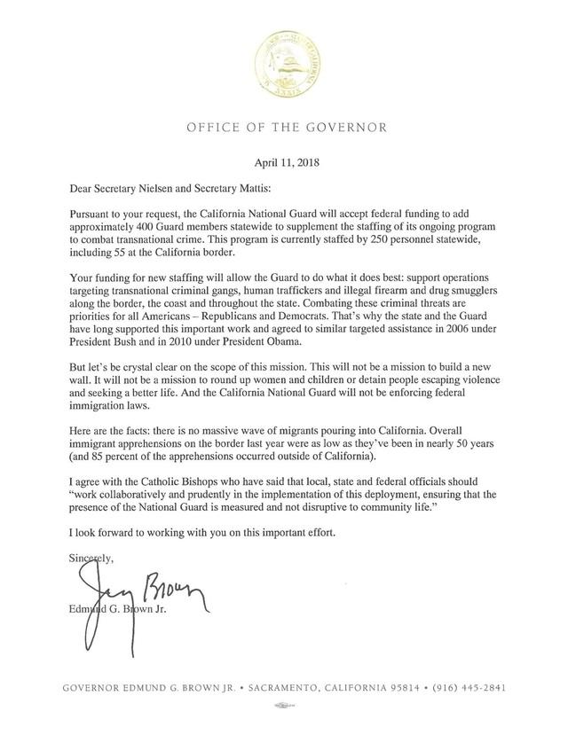 도널드 트럼프 행정부의 주방위군 국경 배치안을 따르겠다는 내용이 담긴 제리 브라운 캘리포니아주지사의 성명서. 브라운 주지사 트위터 갈무리