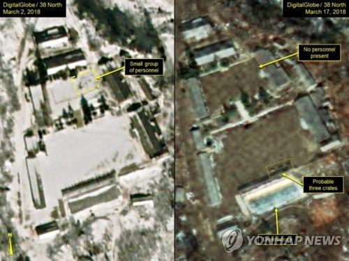 """북한, 풍계리 핵실험장 폐기 결정 (서울=연합뉴스) 북한이 노동당 전원회의에서 풍계리 핵실험장 폐기 결정을 채택했다고 조선중앙통신이 21일 보도했다.      통신은  """"주체107(2018)년 4월 21일부터 핵시험과 대륙간탄도로켓(ICBM) 시험발사를 중지할 것""""이라는 내용이 명시됐다고 밝혔다.      사진은 지난 3월 2일(왼쪽)과 17일 상업위성이 촬영한 풍계리 핵실험장 모습. 당시 공사가 상당히 둔화했다는 분석이 나왔다.  [38노스 캡처=연합뉴스 자료사진]      photo@yna.co.kr"""