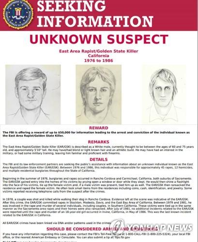 FBI의 골든스테이트 킬러 현상수배 전단