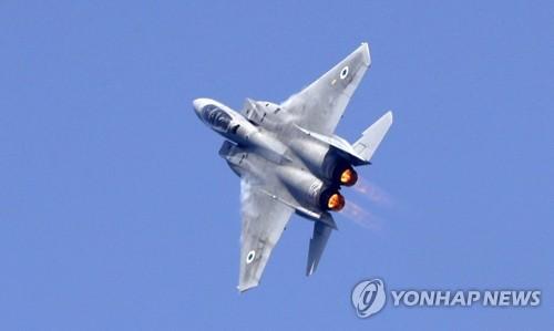 훈련중인 이스라엘 전투기[AFP=연합뉴스자료사진]