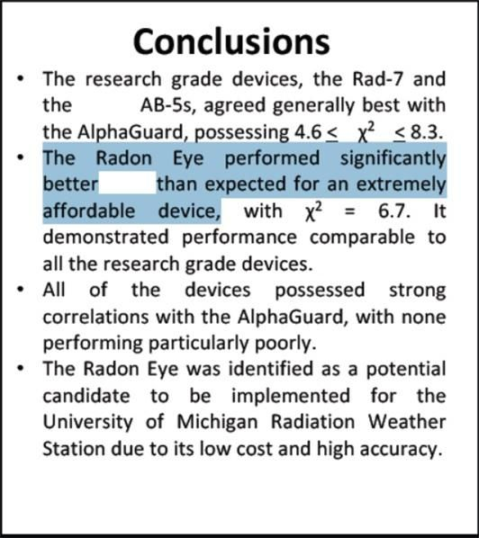 美 미시간대 연구팀 논문의 결론 부분. 해당 측정기 (Radon-eye)의 성능이 기대보다 훨씬 우수하다는 내용이 적혀 있다.