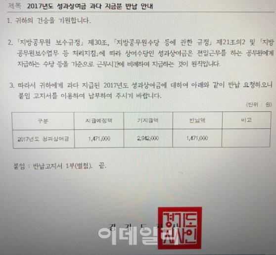 경기도청의 시간선택제 공무원 성과상여금 환수 공문