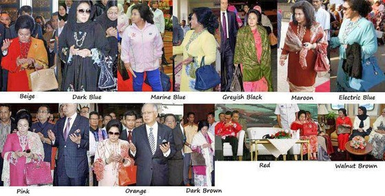 말레이시아의 나집 라작 전 총리의 부인 로스마 만소르는 수천만원대를 호가하는 에르메스 버킨백 애호가였다. 그가 행사장에 색깔별로 다른 버킨백을 들고나온 모습을 편집한 말레이시아의 고발 블로그.
