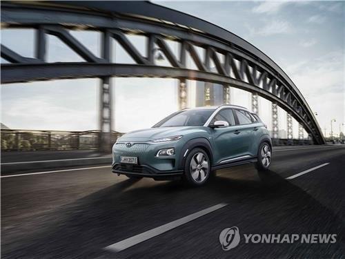 제네바 모터쇼서 공개된 현대차 '코나 일렉트릭' [연합뉴스 자료사진]