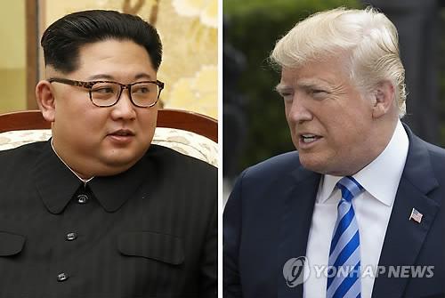 북한 김정은 국무위원장(좌)과 도널드 트럼프 미국 대통령(우)