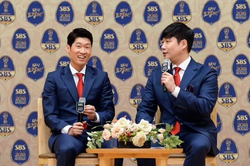 박지성(왼쪽)-배성재 아나운서. 사진제공|SBS