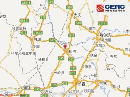 중국 동북 지린성에서 28일 새벽 규모 5.7의 지진 발생 진원지. [사진 중국지진대망 캡처]