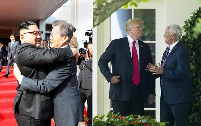 '비핵화는 길고 어려운 여정이다. 위기를 만날 때마다 남과 북이 손을 맞잡아야 한다.' 지난 5월26일 판문점에서 전격적으로 이뤄진 정상회담을 마무리한 뒤 남북두 정상이 환한 얼굴로 얼싸안고 있다. 도널드 트럼프 미국 대통령(왼쪽)은 지난 5월29일 마이크 펜스 부통령과 백악관 집무실 앞에서 심각한 표정으로 얘기를 나누고 있다. (사진 왼쪽부터) 청와대 제공/ 연합뉴스