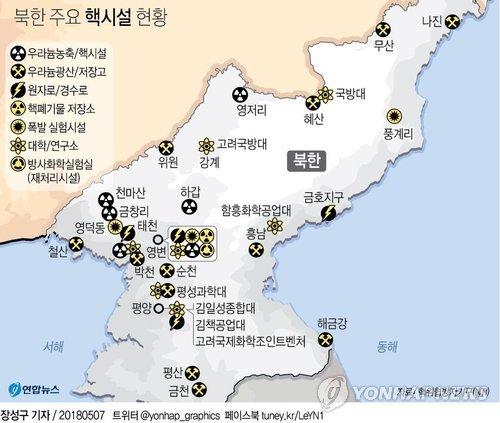 [그래픽] 북한 주요 핵시설 현황 (서울=연합뉴스) 장성구 기자 = 북한의 비핵화를 검증하는 작업은 핵 폐기 역사에서 가장 광범위한 사찰 활동이 될 것이라고 뉴욕타임스(NYT)가 6일(현지시간) 전망했다.  sunggu@yna.co.kr  페이스북 tuney.kr/LeYN1 트위터 @yonhap_graphics