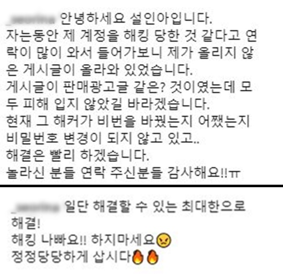 배우 설인아가 올린 SNS해킹 피해 호소문/사진=설인아 인스타그램