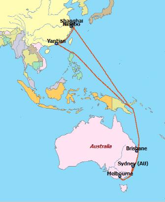 중국과 호주의 주요 항을 연결하는 컨테이너 정기선 서비스 'A1X' 노선. 기항지는 닝보~상해~얀티안~시드니~멜버른~브리스베인이다.