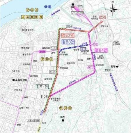 서울시 1차 도시철도망 구축계획 수립 당시 검토된 9호선 4단계 4개 노선. 서울시 제공